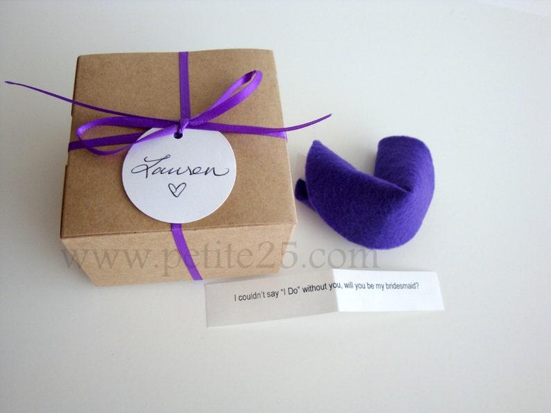 Bridesmaid Invitation:  Felt Fortune cookie wedding favor image 0
