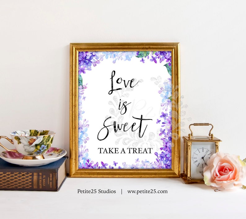 Purple blue hydrangea lilac Love is Sweet Table Wedding Sign image 0
