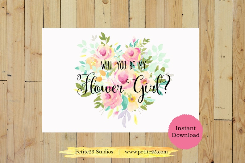 Will You Be My Flower Girl Printable Wedding Card Bridesmaid image 0