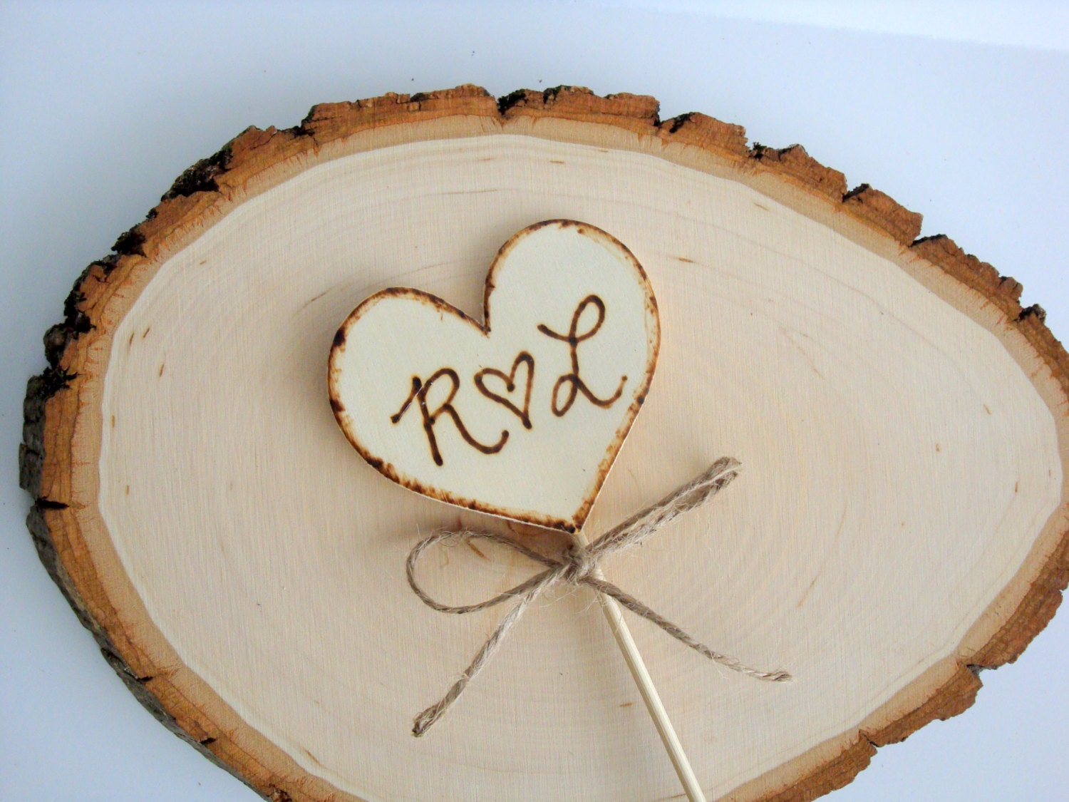 Rustic Cake Toppers Wooden Heart Bride And Groom Initials