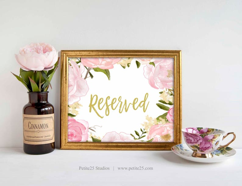 Wedding Reserved Sign Pink Rose Peonies Gold Text Wedding image 0