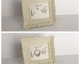 Wedding ring holder square distressed white frame: engagement ring holder, bridal shower gift, for her, ring stand