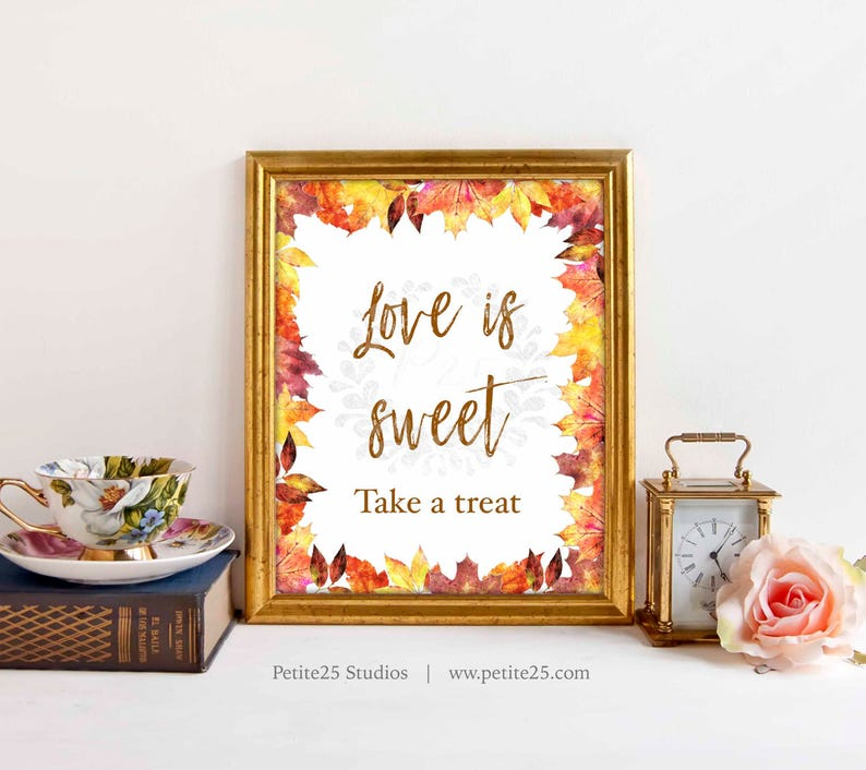 Love is Sweet sign autumn fall orange maple leaves image 0