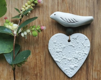 Heart and bird hangings - green and white - fawn and white - ceramic decorations-home decor