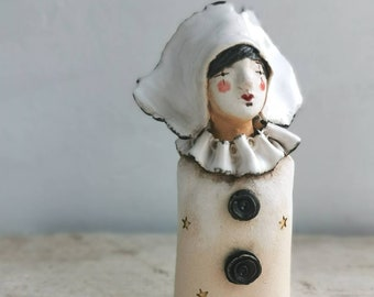 Pierrot Clown ceramic figure - ceramic sculpture - vintage style theatrical figure in black and white