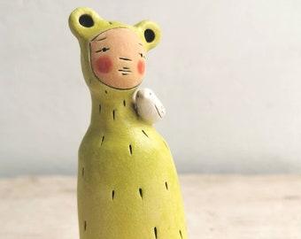 Ceramic miniature figurine Peculiar Person in bright green- ceramic figurative sculpture-miniature sculpture with bird