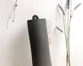 Stem vase - ceramic vase - decorative ornament - ceramic abstract -Black and white - dried flower vase-scalloped - home decor