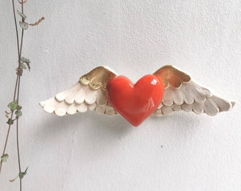 Heart sculpture ceramic wall art red ceramic heart with wings and gold - wall art-home decor