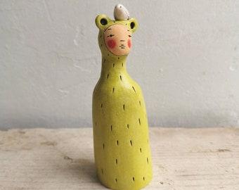 Ceramic miniature figurine Peculiar Person in bright green - ceramic figurative sculpture-miniature sculpture with bird