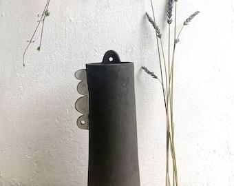 Stem vase - ceramic vase - stoneware vase - decorative ornament - ceramic abstract -Black and white - dried flower vase-scalloped