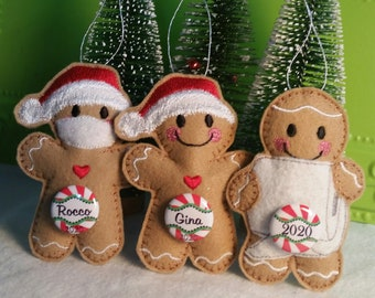 Gingerbread Man with Dark Red and White Icing Ceramic Ornament Ready to be Personalized