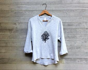 Oak Tree Remix Top, Nature Top, Oatmeal Sweatshirt, Yoga Pullover, Gym Top, Favorite Top