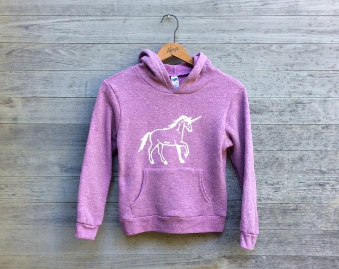 Unicorn Hoodie, Kids Hoodie, Gift for a Girl, Unicorn Gift, Little Girl Gift, White Unicorn, Cozy Hoodie, Sizes 6-12
