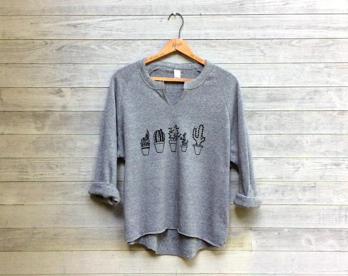 Succulent Sweatshirt, Gym Remix Top, Plant Lady Gift, Cozy Pullover