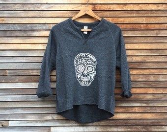 Sugar Skull Top, Gym Remix Top, Yoga Pullover, Cozy Sweater, Spring Top, Flowy Sweatshirt, Cute Sweatshirt, Calavera Top