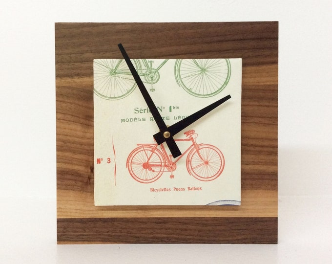 Bicycle Clock, Reclaimed Wood Clock, Modern Decor, Unique Bike Gift, Handmade Gift, Gift for a Guy