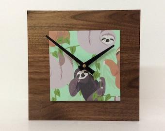 Sloth Clock, Reclaimed Wood Gift, Walnut Clock, Kids Room Decor, Cute Sloth Gift