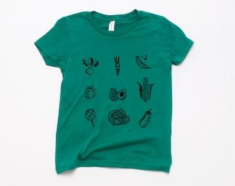 Veggies Tshirt, Kids Tee, Boy's Tee, Girl's Tee, Cotton Tee, Vegetarian Shirt, Vegan Shirt, Eat Your Vegetables