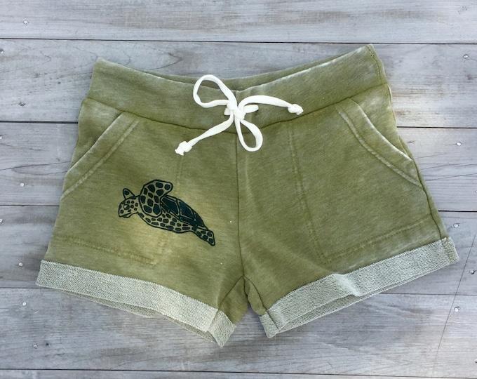 Turtle Shorts, Summer Shorts, Beach Shorts, Yoga Shorts, Turtle Gift, Gym Shorts, Running Shorts