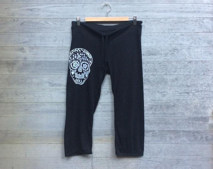 Sugar Skull Yoga Pants, Cropped Pants, Capris, Halloween Pants, Calavera Gift