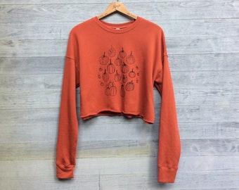 Pumpkin Patch Crop Top, Orange Sweatshirt, Halloween Shirt, Pumpkin Shirt