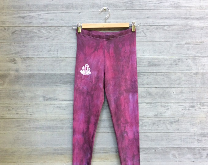 Black Plum Leggings, Crystal Leggings, Hand Dyed Leggings