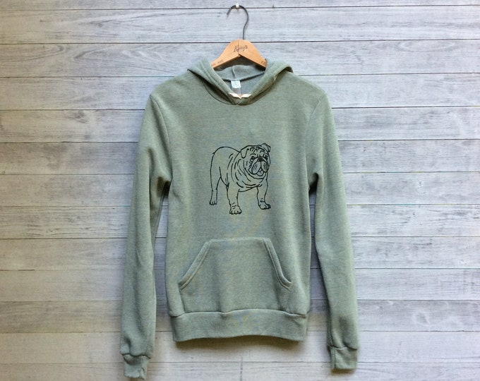 Bulldog Hoodie, Gym Shirt, Gift for a Guy, Dog Sweatshirt, Weekend Wear