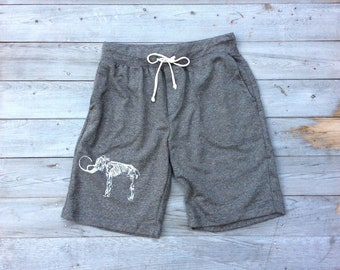 Wooly Mammoth Shorts, Men's Yoga Shorts, Workout Shorts, Gym Shorts, Gift for a Guy