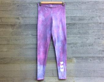 Sunset Leggings, Hand Dyed Leggings, Yoga Leggings, Heart Leggings, Purple Leggings