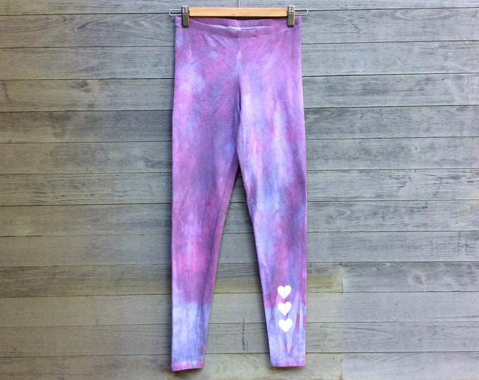 Sunset Leggings, Hand Dyed Leggings, Yoga Leggings, Heart Leggings, Purple Leggings