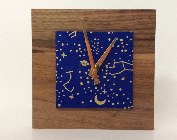 Celestial Clock, Cobalt Blue Clock, Reclaimed Wood Clock, Wood Clock, Modern Clock
