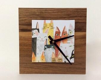 Cat Clock, Cat Lover Gift, Reclaimed Wood Decor, Wood Clock, Cute Clock for a Kids Room