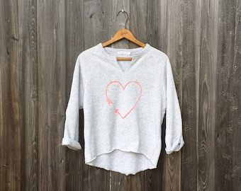 Gym Remix Top with Arrow Heart, Anniversary Gift, Yoga Pullover, Gym Top, Workout Sweatshirt, Heart Shirt
