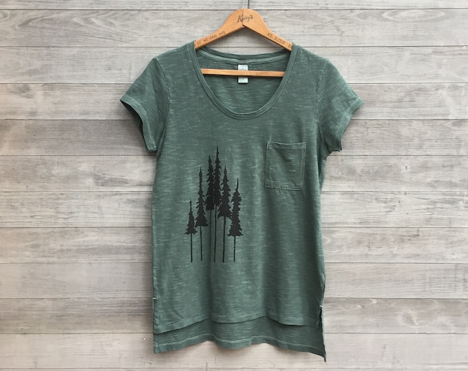 Going for a Hike Tee, Outdoor Tee, Yoga Tee, Laid Back Tee, Scoopneck, Camping Tee, Forest Green, 100% cotton