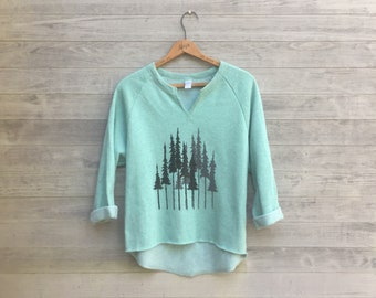 Gym Remix Top in Forest, Trees, Hiking Pullover, Meadow Green, 3/4 Sleeve Cozy Sweatshirt
