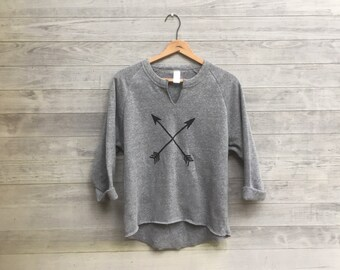 Gym Remix Top with Compass Arrows, Cozy Pullover, Gym Sweatshirt, Cool Mom Gift, Road Trip Gift