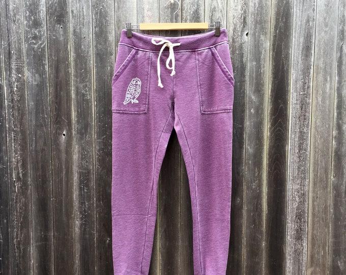Favorite Sweatpants, Joggers, Owl Pants, Owl Gift, Purple Sweats, Gym Pants