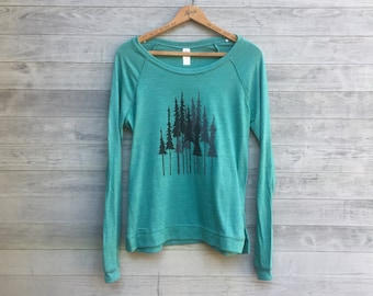 forest pullover, yoga top, hiking shirt, outdoor shirt, camping shirt