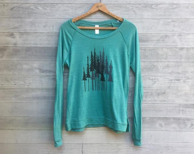Pine Trees Pullover, Yoga Top, Hiking Shirt, Outdoor Shirt, Camping Shirt, Arborist Gift