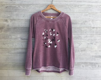 The Murmuration Top, Yoga Top, Purple Sweater, Bird Shirt, Workout Top, Bird Lover