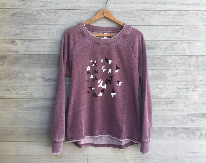 Murmuration Top, Yoga Top, Purple Sweater, Bird Shirt, Workout Top, Bird Lover