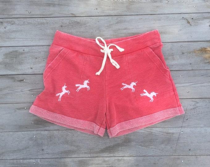 Unicorn Shorts, Beach Shorts, Summer Shorts, Yoga Shorts, Running Shorts, Unicorn Gift, Gym Shorts, Pajama Shorts