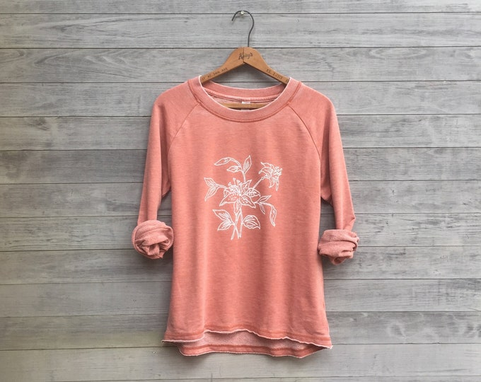 Passionate Gardener's Top, Lily Shirt, Yoga Top, Peach Shirt, Slouchy Pullover, Floral Top, Gift for a Gardener