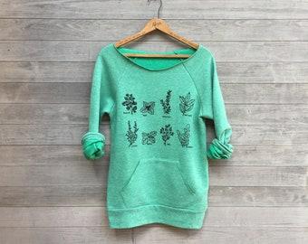 Green Thumb, Vegan Shirt, Gardening Gift, Mother's Day, Herbs Shirt, Chef Gift, Yoga Top, Green Sweater