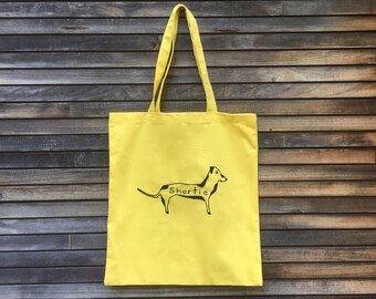 Shortie Tote Bag, Reusable Bag, Yellow Tote, Dachshund Gift, Doxie Print, Cotton Tote, Small Gift, Shopping Bag