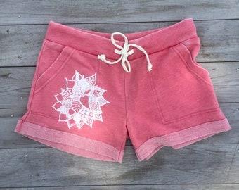 Lotus Shorts, Yoga Shorts, Pink Shorts, Gym Shorts, Pajama Shorts, Beach Shorts, Vacation Shorts, Yoga Gift