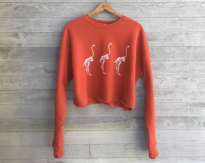 Ostrich Crop Top, Skeleton Print, Halloween Top, Gym Top, Yoga Top, Orange Pullover