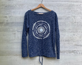 Sun Harvest Pullover, Unique Pullover, Marled Cotton/Poly Pullover, Midnight Blue Top