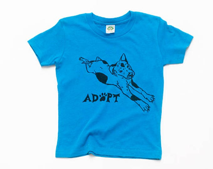 Adopt a Dog Tee, Kids Tee, Blue Tshirt, Baby Tee, Little Boy Gift, Back to School, Summer Tee