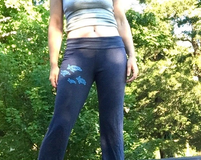 follow me Sea Turtle Yoga Pants, Lounge Pants, Maternity Pants, Turtle Gift, Comfy Pants, Recovery or Post Surgery Pants